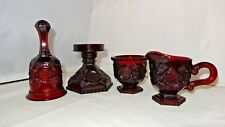 Fostoria Glass For Avon Ruby Bell Creamer Sugar Hurricane Candle Holder 4pc Set