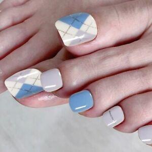 Blue White Geometric Fake Toe Nails French Full Detachable Press On Nails Decor
