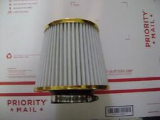 "WHITE 3'' INLET HIGH FLOW COLD INTAKE ROUND CONE MESH AIR FILTER 5 3/8"" TALL"