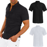 Fashion Mens Luxury Short Sleeve Shirt Casual Slim Fit Stylish Dress Shirts Tops