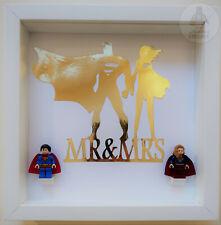 "LEGO ""Mr and Mrs"" Superman Supergirl Minifgure 3D Frame Valentines Wedding Gift"