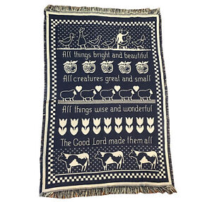 """Goodwin Weavers blanket throw All Things Bright and Beautiful Religious 72""""x 47"""""""