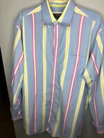 Bobby Jones Collection Mens Button Up Shirt Sz L Blue/yellow/pink