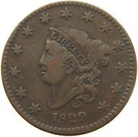 UNITED STATES LARGE CENT 1829 CORONET HEAD #t118 213