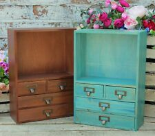 Stand Storage Cabinet Rustic Wood Drawer Unit Jewellery Makeup Boxes Pigeon Hole