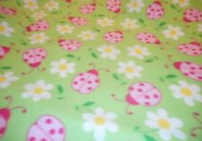 MadieBs Lady Bugs and Flower Fleece Blanket Toddler or Baby 30 x 36 inches