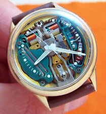 SERVICED 214 ACCUTRON SPACEVIEW 10KT. GOLD FILLED TUNING FORK MEN'S WATCH M6