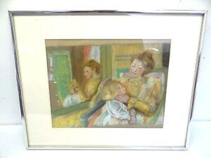 Vintage Hand Drawn Original Pastel Mother and Child Wall Hanging Art Artwork