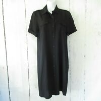 Theory Shirt Dress 6 Navy Blue Button Front Utility Pockets Short Sleeve Wool