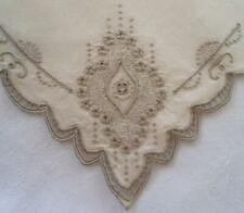 Vtg Set Madeira Linen Dinner Napkins Needle Lace Seed Stitch Embroidery Linen