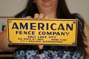 Vintage 1950's American Fence Company Farm Gas Oil Porcelain Metal Sign