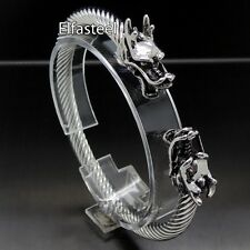Stainless Steel Cuff Bracelet Men Silver Dragon Cable