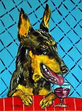 doberman pinscher dog wine 8x10 art artist print animals impressionism