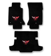 1997-2004 Corvette Coupe 3pc Black Carpet Floor Mats with Red C5 Flags Logo
