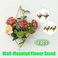 2 PCS Wall Decor Hanging Iron Geometric Plant Flower Pot Rack Holder Bracket