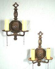 PAIR OF ANTIQUE 19th CENTURY CAST IRON DOUBLE ARM SCONCES