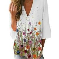 Womens Boho 3/4 Sleeve Floral Printed Blouse Top V Neck Casual Loose Tee T Shirt
