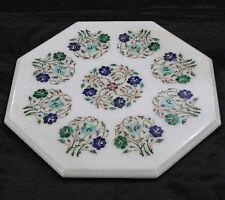 "18"" Marble side Table Top PietraDura  Inlay Work  Home Decor"