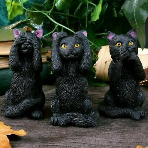 Three Wise Felines Cat Figurines - 3 x Cute Kitty Cats Figure Set - Each 8.5 cm