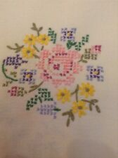 VINTAGE LINEN TABLECLOTH EMBROIDERED Cross Stitch Floral Tea Party Kitchen Cafe