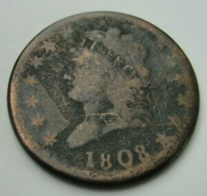 1808 US Large Cent Better Type CLASSIC HEAD Copper KEY DATE Coin
