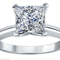 2ct Princess Cut Classic Solitaire Engagement Promise Ring Solid 14k White Gold