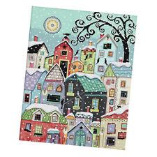 Cross Stitch Embroidery Kits DIY Needlework - Snow Street Scenery (Stamped)