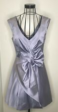 Stunning KAREN MILLEN grey lilac satin feel bow occasion cocktail dress UK 12