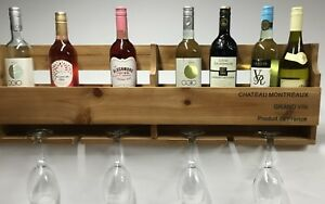 Wooden Wine Rack 6 Bottle, Wall Mounted or Freestanding,69cm x 27cm x12cm