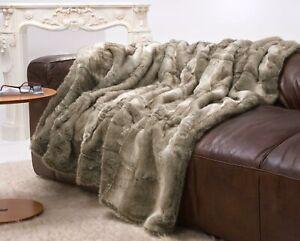 Große Webpelzdecke, Felldecke Bär grau und beige Melange 220x240cm