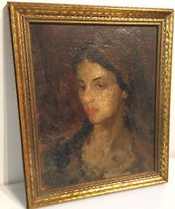 Vintage Female Portrait Original Oil Painting Framed