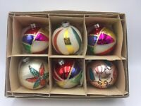 Vintage W. Germany Christmas Ornaments Mica Glitter Mixed Lot of 6 Glass Bulbs