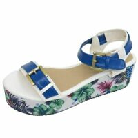 LADIES DOLCIS WHITE FLOWER FLAT-FORM PLATFORM CHUNKY SANDALS WEDGE SHOES UK 3-8