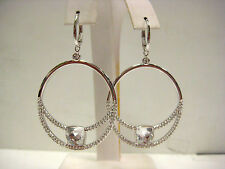 TALA CLEAR CRYSTAL DROP PIERCED EARRINGS 2013 SWAROVSKI JEWELRY RETIRED  1169586