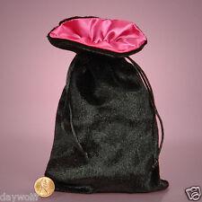 Satin Lined Velvet Bags 5 x 8  Black & Hot Pink   Pendulums, Runes, Tarot Cards