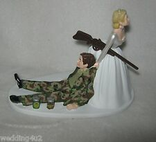 Wedding Party Reception *Drunk Camo Groom (2) Beer Cans Cake Topper Bride w/ Gun