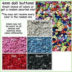 50, 100 or 200 4mm 2 Hole Buttons Assorted Mix 4 mm mini tiny doll buttons 4mm