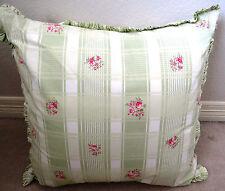TOMMY HILFIGER Euro Pillow Sham Mint Green Stripes Pink Roses Retired NWOT