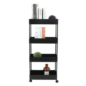Household 4 Tiers Removable Storage Rack Trolley Cart For Kitchen Bathroom Sa LF