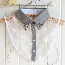 Elegant False Collar Women Grey Diamond Detachable Shirt Sweater Fake Collar` Sp
