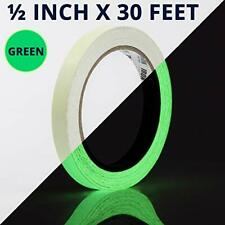 Glow Tape - 1/2 inch x 30ft Vinyl Adhesive Glow-in-The-Dark Tape Roll - Lasts up