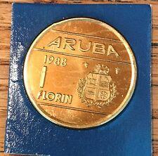 1988 ARUBA 1 FLORIN  KM# 5 CUT FROM FDC MINT SET  SUPER GEM   #1988AR