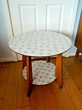 Vintage Retro 1950'S 60'S Round Wooden Coffee Table with Magazine Shelf Formica