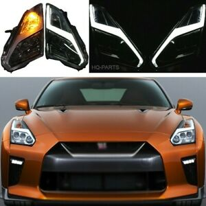 Fits 09-22 Nissan R35 GTR GT-R Coupe USDM & LHD Full LED Headlights Pair LH RH