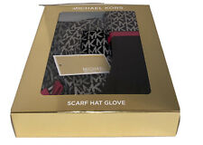 $98 MICHAEL KORS Women's 3 Pc Gift Set MK Logo Scarf Hat & Gloves Black & Pink