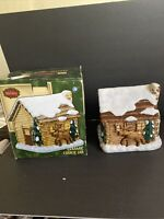 BICO CHINA Large Cookie Jar Canister, Log Cabin In Winter Bear & Moose On Walls