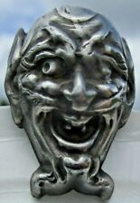 "Old French Button ""DEVIL SATAN HEAD"" Realistic Metal Vintage Antique"