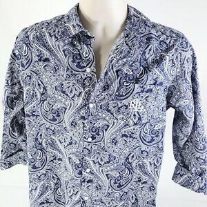 Ralph Lauren Monogram RLL Paisley 3/4 Sleeve Button Front Shirt Medium