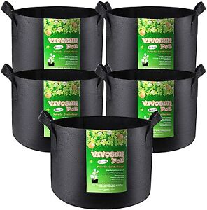 5-Pack 5/10 Gallon Plant Grow Bags Thickened Nonwoven Fabric Pots with Handles