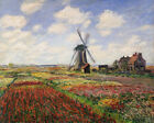 Tulip Fields Rijnsburg Windmill Claude Monet Painting Print on Canvas Small 8x10